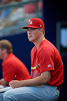 Palm Beach Cardinals pitcher Evan Kruczynski (25) in the dugout during a game against the Charlotte Stone Crabs on April 21, 2018 at Charlotte Sports Park in Port Charlotte, Florida.  Charlotte defeated Palm Beach 5-2.  (Mike Janes/Four Seam Images)