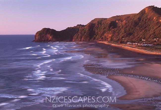 Twilight over Piha beach west of Auckland, North Island, New Zealand