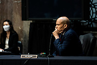 United States Senator Cory Booker (Democrat of New Jersey) attends a US Senate Judiciary Committee business meeting to consider authorization for subpoenas relating to the Crossfire Hurricane investigation and other matters on Capitol Hill in Washington, DC on June 11, 2020. <br /> Credit: Erin Schaff / Pool via CNP/AdMedia