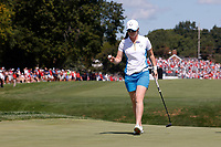 6th September 2021: Toledo, Ohio, USA;  Leona Maguire of Team Europe celebrates her putt on the first hole during her singles match in the Solheim Cup on September 6, 2021 at Inverness Club in Toledo, Ohio.