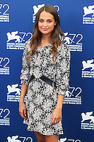 Alicia Vikander attends the photocall for the movie 'The Danish Girl' during 72nd Venice Film Festival at the Palazzo Del Cinema in Venice, Italy, September 5, 2015. <br /> UPDATE IMAGES PRESS/Stephen Richie