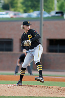Bristol Pirates pitcher Shane Baz (10) on the mound during a game against the Greeneville Reds at Pioneer Field on June 20, 2018 in Greeneville, Tennessee. Bristol defeated Greeneville 11-0. (Robert Gurganus/Four Seam Images)
