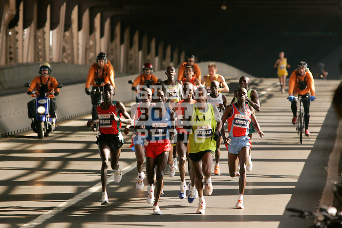 Martin Lel (KEN) and Hendrick Ramaala (RSA) lead the front pack of male athletes as they cross the Queensboro Bridge from Queens into Manhattan while competing in the ING New York City Marathon in New York, New York on November 4, 2007.  Lel won the men's race with a time of 2:09:04  Paula Radcliffe (GBR) won the women's race with a time of 2:23:09.
