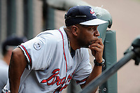 Batting coach Bobby Moore (1) of the Rome Braves looks out onto the field before a game against the Greenville Drive on Sunday, June 14, 2015, at Fluor Field at the West End in Greenville, South Carolina. Rome won, 5-2. (Tom Priddy/Four Seam Images)