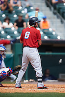 Columbus Clippers designated hitter Lonnie Chisenhall (8) at bat during a game against the Buffalo Bisons on July 19, 2015 at Coca-Cola Field in Buffalo, New York.  Buffalo defeated Columbus 4-3 in twelve innings.  (Mike Janes/Four Seam Images)