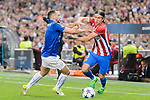 Filipe Luis (r) of Atletico de Madrid competes for the ball with Danny Drinkwater of Leicester City during their 2016-17 UEFA Champions League Quarter-Finals 1st leg match between Atletico de Madrid and Leicester City at the Estadio Vicente Calderon on 12 April 2017 in Madrid, Spain. Photo by Diego Gonzalez Souto / Power Sport Images