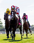 June 8, 2019 : #8, Bricks and Mortar, ridden by jockey Irad Ortiz, Jr., wins the Manhattan Stakes on Belmont Stakes Festival Saturday at Belmont Park in Elmont, New York. Alex Evers/Eclipse Sportswire/CSM