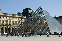 The Louvre Museum and the Pyramid, designed by I. M. Pei, in Paris, France
