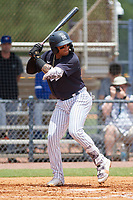 FCL Yankees Roberto Chirinos (57) bats during a game against the FCL Blue Jays on June 29, 2021 at the Yankees Minor League Complex in Tampa, Florida.  (Mike Janes/Four Seam Images)