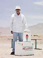 Man selling ice creams in the Atacama Desert, Chile