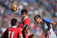San Diego, CA - Sunday January 29, 2017: Aleksandar Palocevic, Alejandro Bedoya during an international friendly between the men's national teams of the United States (USA) and Serbia (SRB) at Qualcomm Stadium.