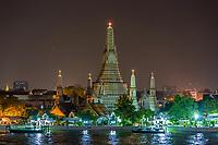 Bangkok, Thailand.  Wat Arun Temple at Night.