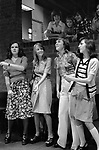 Timebridge Youth club 1975,  teen girls dancing in a group together to disco music The Wells Fargo Disco, Cells, Stevenage Hertfordshire. 1970s UK.