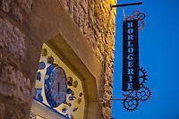 Watchmaker sign at l'Atelier d'Horlogerie, Place du Frene, Vence, France, 17 November 2010