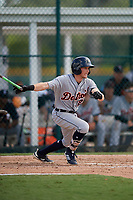 Detroit Tigers designated hitter Daniel Woodrow (22) grounds out during a Florida Instructional League game against the Pittsburgh Pirates on October 2, 2018 at the Pirate City in Bradenton, Florida.  (Mike Janes/Four Seam Images)