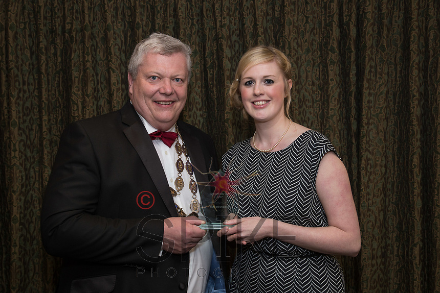 Pictured with Michael Auty QC, President of the Nottinghamshire Law Society is Faye Deverell - Solicitor of the Year
