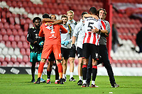 Dru Yearwood of Brentford celebrates at full time with Thomas Frank Manager of Brentford during the Sky Bet Championship Play Off Semi-final 2nd Leg between Brentford and Swansea City at Griffin Park in Brentford, England, UK. 29th July, 2020