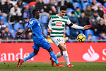 Amath Diedhiou of Getafe CF (L) fights for the ball with Dani Garcia Carrillo of SD Eibar (R) during the La Liga 2017-18 match between Getafe CF and SD Eibar at Coliseum Alfonso Perez Stadium on 09 December 2017 in Getafe, Spain. Photo by Diego Souto / Power Sport Images