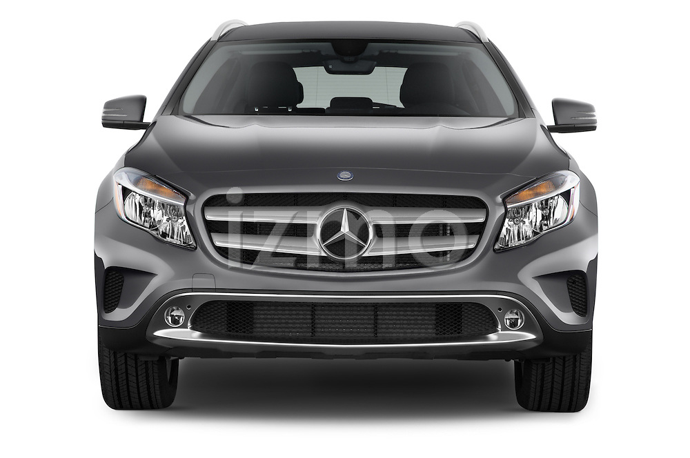 Car photography straight front view of a2015 Mercedes Benz GLA 250 4Matic Exclusiefpakket 5 Door SUV Front View