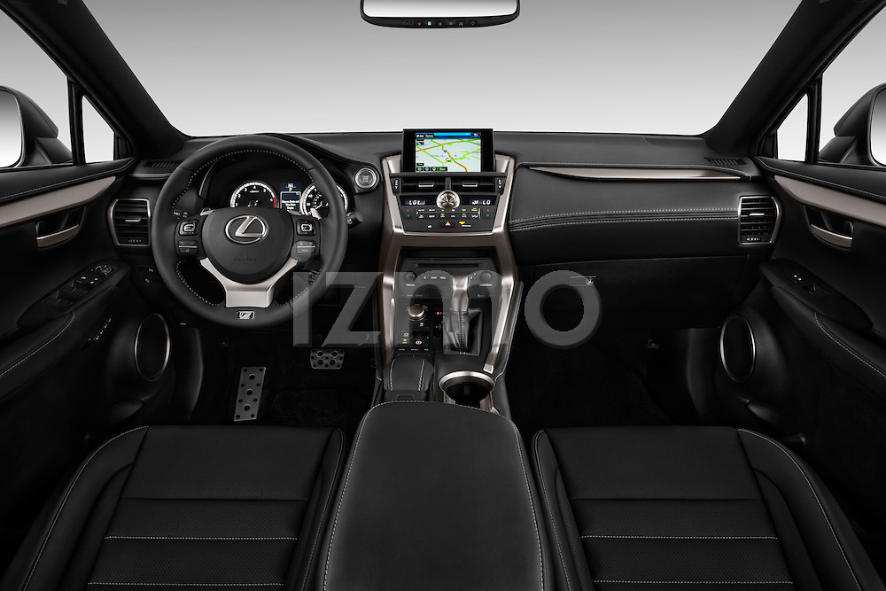 Stock photo of straight dashboard view of a 2015 Lexus NX NX 200t F SPORT 5 Door SUV Dashboard