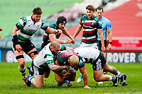 28th March 2021; Mattoli Woods Welford Road Stadium, Leicester, Midlands, England; Premiership Rugby, Leicester Tigers versus Newcastle Falcons; Ellis Genge of Leicester Tigers attempts to break through the Newcastle Falcons defence