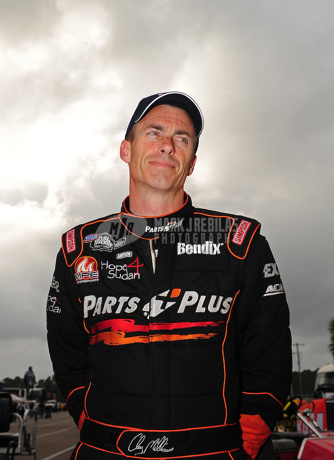 Mar. 11, 2012; Gainesville, FL, USA; NHRA top fuel dragster driver Clay Millican during the Gatornationals at Auto Plus Raceway at Gainesville. Mandatory Credit: Mark J. Rebilas-