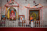 India, Rishikesh.  Hindu Temple., Hanuman on Left.