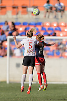 Houston, TX - Sunday Oct. 09, 2016: Samantha Mewis, Victoria Huster during the National Women's Soccer League (NWSL) Championship match between the Washington Spirit and the Western New York Flash at BBVA Compass Stadium. The Western New York Flash win 3-2 on penalty kicks after playing to a 2-2 tie.