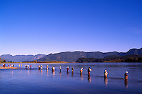 Sport Fishermen fishing for Sockeye Salmon in the Fraser River, Fraser Valley, BC, British Columbia, Canada