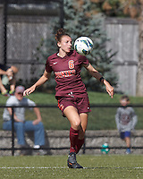 Virginia Tech defender Jodie Zelenky (6) chest trap. Virginia Tech (maroon) defeated Boston College (white), 1-0, at Newton Soccer Field, on September 22, 2013.