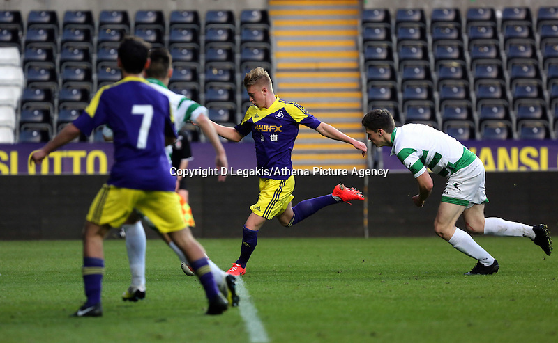 Thursday, 16 April 2014<br /> Pictured: Adam King of Swansea (C) scoring his goal.<br /> Re: FAW Youth Cup Final, Swansea City FC v The New Saints FC at the Liberty Stadium, south Wales,