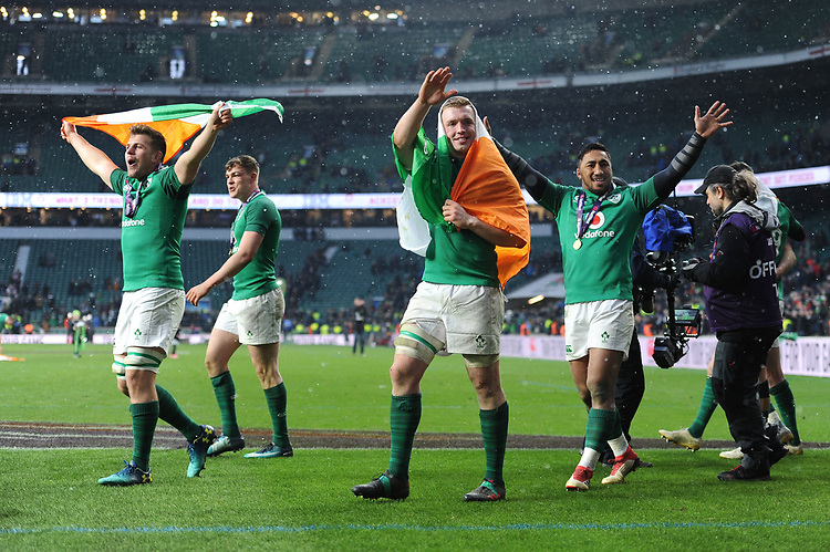 Ireland players celebrate winning the Triple Crown and Grand Slam at the conclusion of the NatWest 6 Nations match between England and Ireland at Twickenham Stadium on Saturday 17th March 2018 (Photo by Rob Munro/Stewart Communications)