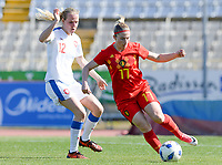 20180228 - LARNACA , CYPRUS :  Belgian Jana Coryn (r) pictured in action with Czech Klara Cahynova (left)during a women's soccer game between The Belgian Red Flames and the Czech Republic , on wednesday 28 February 2018 at GSZ Stadium in Larnaca , Cyprus . This is the first game in group B for Belgium during the Cyprus Womens Cup , a prestigious women soccer tournament as a preparation on the World Cup 2019 qualification duels. PHOTO SPORTPIX.BE   DAVID CATRY