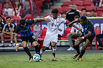 Bayern Munich Forward Kingsley Coman (C) plays against FC Internazionale Midfielder Geoffrey Kondogbia (R) and FC Internazionale Forward Gabriel Barbosa (L) during the International Champions Cup match between FC Bayern and FC Internazionale at National Stadium on July 27, 2017 in Singapore. Photo by Marcio Rodrigo Machado / Power Sport Images