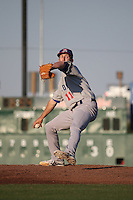 Daniel Gossett (11) of the Stockton Ports pitches against the Lancaster JetHawks at The Hanger on May 26, 2016 in Lancaster, California. Stockton defeated Lancaster, 16-7. (Larry Goren/Four Seam Images)