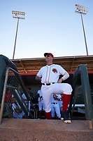Florida Fire Frogs left fielder Braxton Davidson (24) jokingly poses on the dugout step before the teams inaugural game against the Daytona Tortugas on April 6, 2017 at Osceola County Stadium in Kissimmee, Florida.  Daytona defeated Florida 3-1.  (Mike Janes/Four Seam Images)