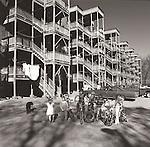 1978. Bellows Falls, NH apartment complex with neighborhood children.