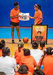 WATERBURY, CT 072721JS11 Kalynn Hillian, 13, left, and Sofia Torres, 14, both of Waterbury, talk to girls about the clinic's goal and vision during the Girls Mentoring Girls basketball clinic at the North End Rec Center in Waterbury. The clinic is open to girls ages 8-13. <br /> Jim Shannon Republican American