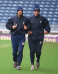 Daniel Prodan training with fellow Rangers outcast Marco Negri