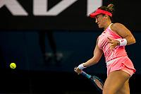 9th February 2021, Melbourne, Victoria, Australia; Danka Kovinic of Montenegro returns the ball during round 1 of the 2021 Australian Open on February 9 2020, at Melbourne Park in Melbourne, Australia.