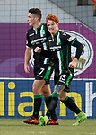 Simon Murray celebrates his goal for Hibs