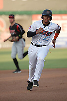 Jose Reyes (27) of the Inland Empire 66ers runs the bases during a game against the Lake Elsinore Storm at San Manuel Stadium on July 25, 2021 in San Bernardino, California. (Larry Goren/Four Seam Images)