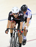 Aaron Gate in the madison at the BikeNZ Elite & U19 Track National Championships, Avantidrome, Home of Cycling, Cambridge, New Zealand, Sunday, March 16, 2014. Credit: Dianne Manson
