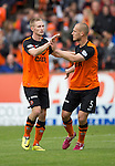 Dundee United v St Johnstone...27.09.14  SPFL<br /> Chris Erskine celebrates his goal with Jaroslaw Fojut<br /> Picture by Graeme Hart.<br /> Copyright Perthshire Picture Agency<br /> Tel: 01738 623350  Mobile: 07990 594431