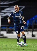 LAKE BUENA VISTA, FL - AUGUST 01: Alexandru Mitrita #28 of New York City FC dribbles the ball during a game between Portland Timbers and New York City FC at ESPN Wide World of Sports on August 01, 2020 in Lake Buena Vista, Florida.