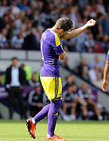 Sunday 01 September 2013<br /> Pictured: Pablo Hernandez of Swansea kissing one of his tattoos on his arm, celebrating his goal.<br /> Re: Barclay's Premier League, West Bromwich Albion v Swansea City FC at The Hawthorns, Birmingham, UK.