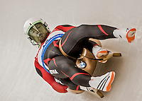 4 December 2015: Oskars Gudramovics and Peteris Kalnins, sliding for Latvia, bank into a turn on their first run of the Doubles Competition during the Viessmann Luge World Cup Series at the Olympic Sports Track in Lake Placid, New York, USA. Mandatory Credit: Ed Wolfstein Photo *** RAW (NEF) Image File Available ***