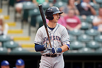 Colorado Springs Sky Sox third baseman Ryan Cordell (7) at bat during a game against the Oklahoma City Dodgers on June 2, 2017 at Chickasaw Bricktown Ballpark in Oklahoma City, Oklahoma.  Colorado Springs defeated Oklahoma City 1-0 in ten innings.  (Mike Janes/Four Seam Images)
