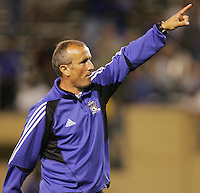 29 June 2005:  Dominic Kinnear, Head Coach of Earthquakes, points to the fans after Earthquakes defeated Rapids at Spartan Stadium in San Jose, California.   Earthquakes defeated Rapids, 1-0.  Mandatory Credit: Michael Pimentel / ISI