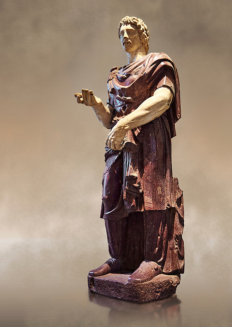 Statue of a Captive Barbarian - a 2nd century Ad Roman sculpture made in Porphyry and white marble from Rome, Italy. The head and hands do not belong to the statue. The head is wearing a hat Phyrigian hat and recalls the same style as the famous Farnese Prisoners statues who were defeated Dacians from the Forum of Trajan (98-117 AD). The statue was from the facade of the Villa Borghese. The Borghese Collection Inv No. MR 332 or Ma 1381, Louvre Museum, Paris.